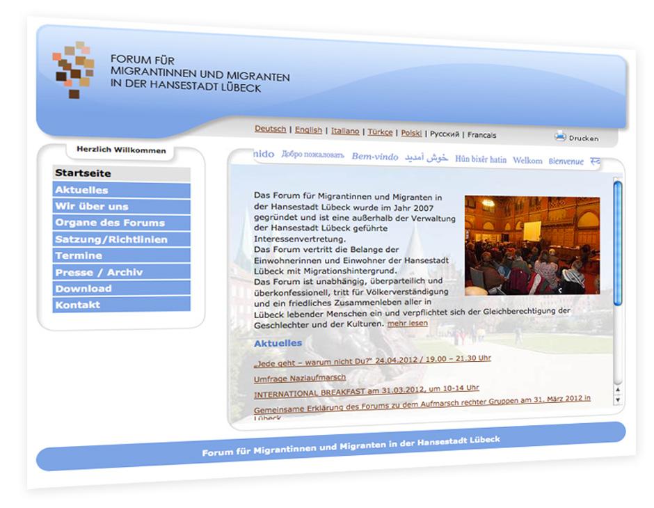 Webseite vom Forum für Migrantinnen und Migranten in Lübeck