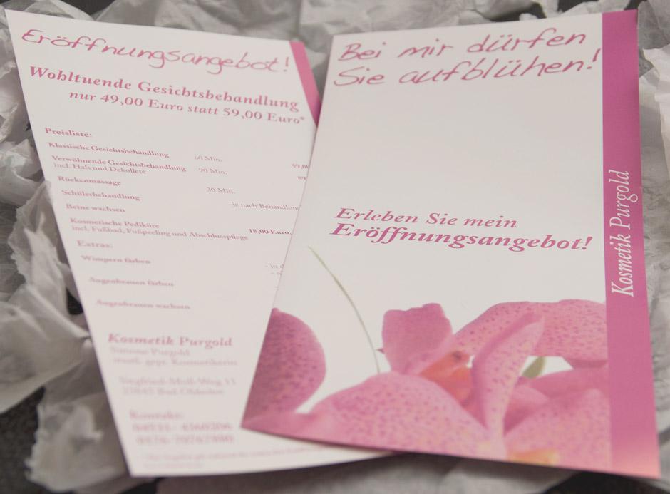 Werbe-Flyer von Kosmetik Purgold - Bad Oldesloe
