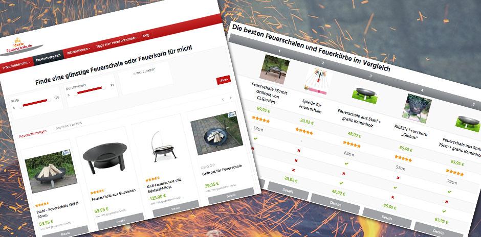 """Das Webdesign der WordPress - Seite """"Die-ideale-Feuerschale.de"""""""