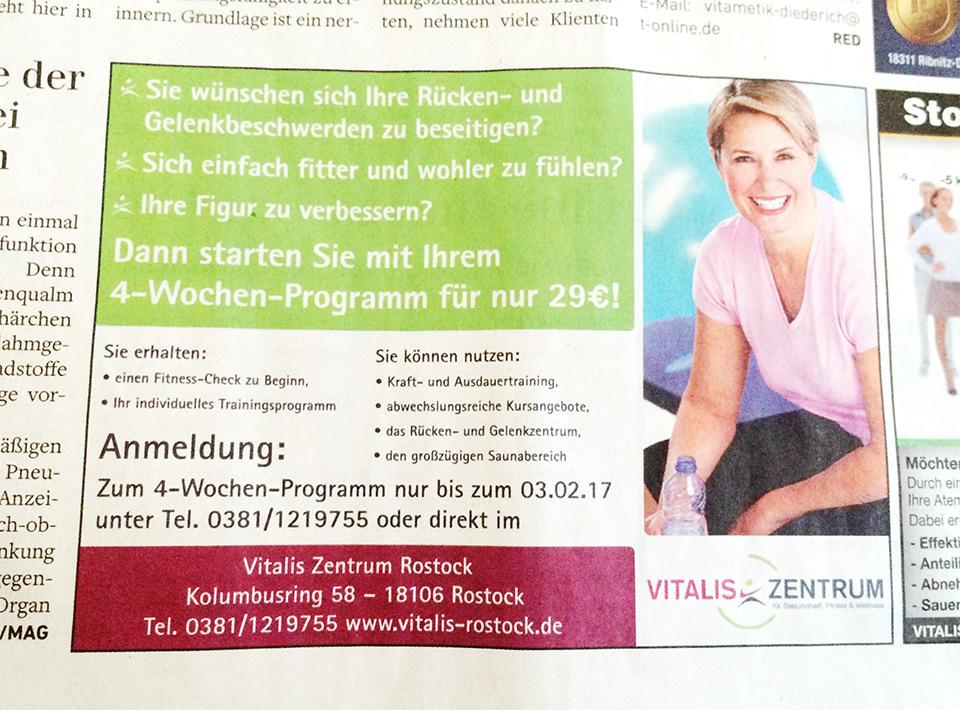 Zeitungsanzeige für das Fitnessstudio VITALIS in Rostock