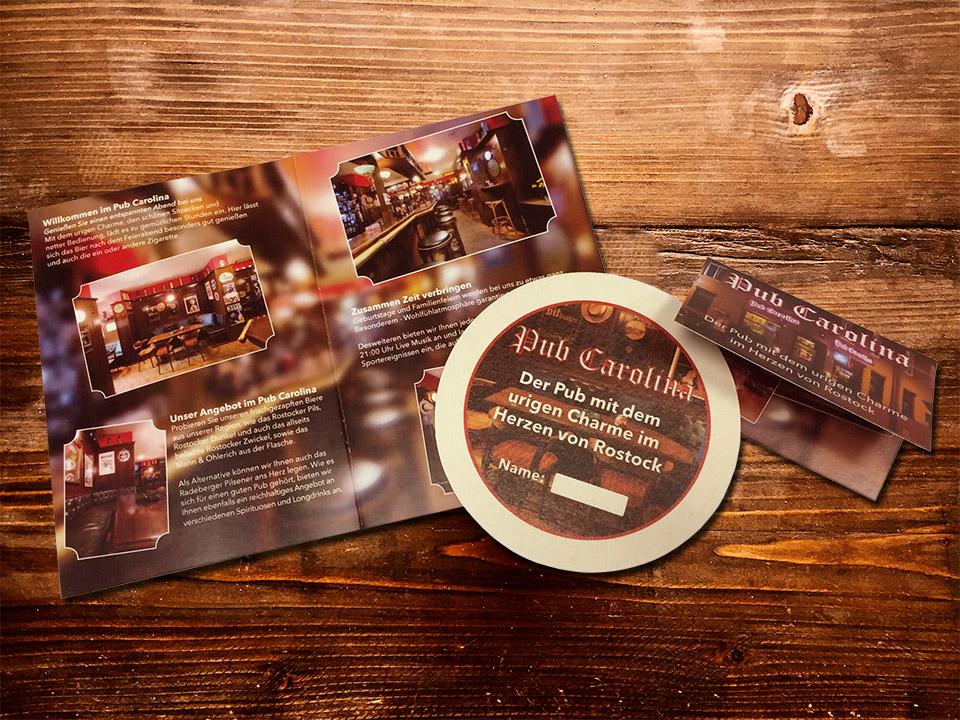 Übersicht der gedruckten Produkte für den Pub Carolina in Rostock