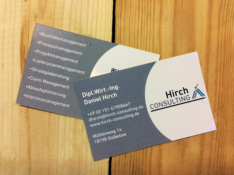 Visitenkartendesign Hirch-Consult - GERBODE-grafikdesign Rostock