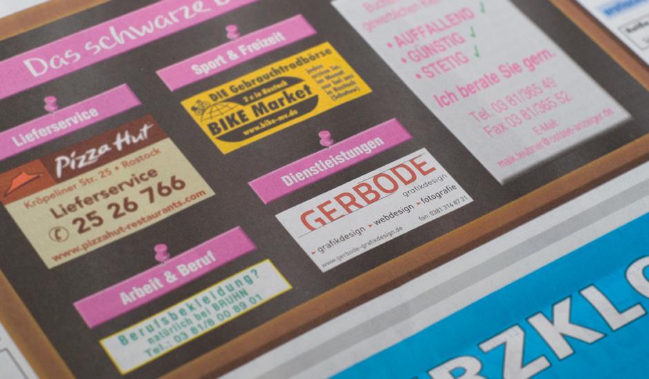 GERBODE-grafikdesign - Rostock-Ostseeanzeiger Anzeige