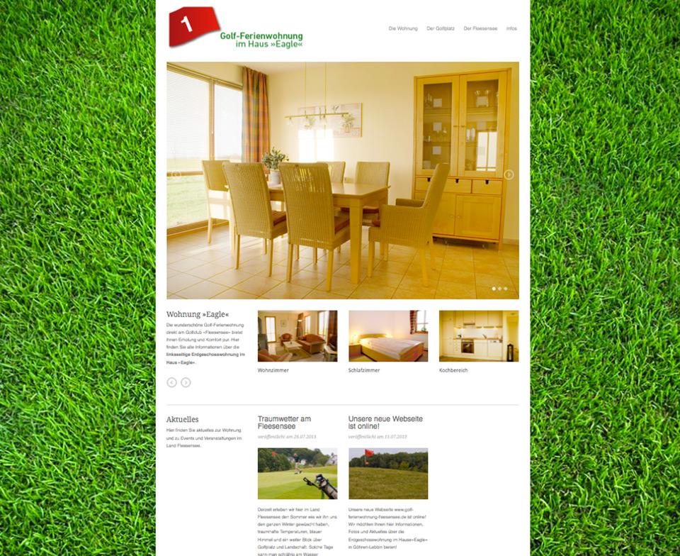 Webdesign für die Golf-Ferienwohnung am Fleesensee