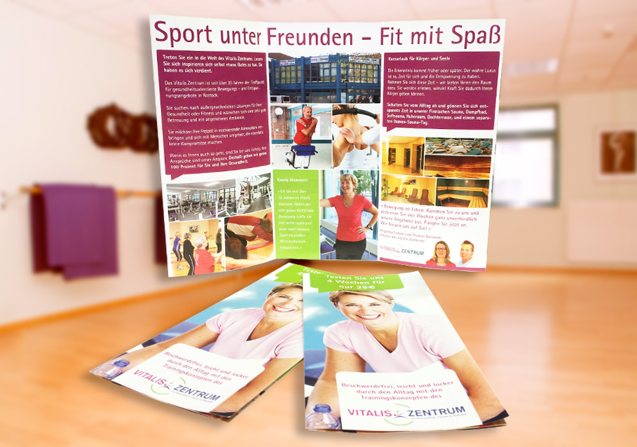 Flyer für das Fitnessstudio VITALIS in Rostock